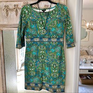 Talbots Green Paisley Knit Dress size 4p
